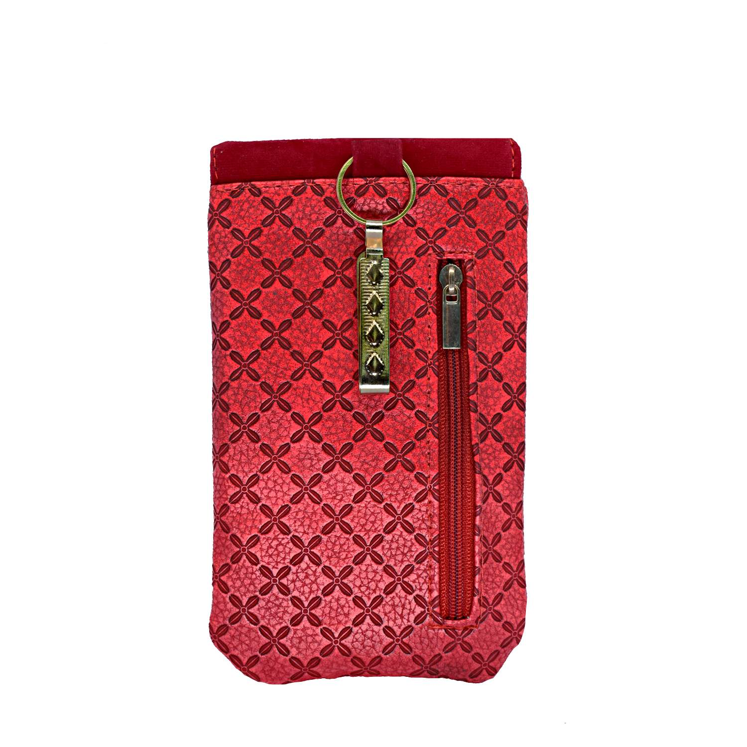 Ethnic Leather Saree Clutch Mobile Pouch Waist Clip Pouch (Red) - Bagaholics Gift