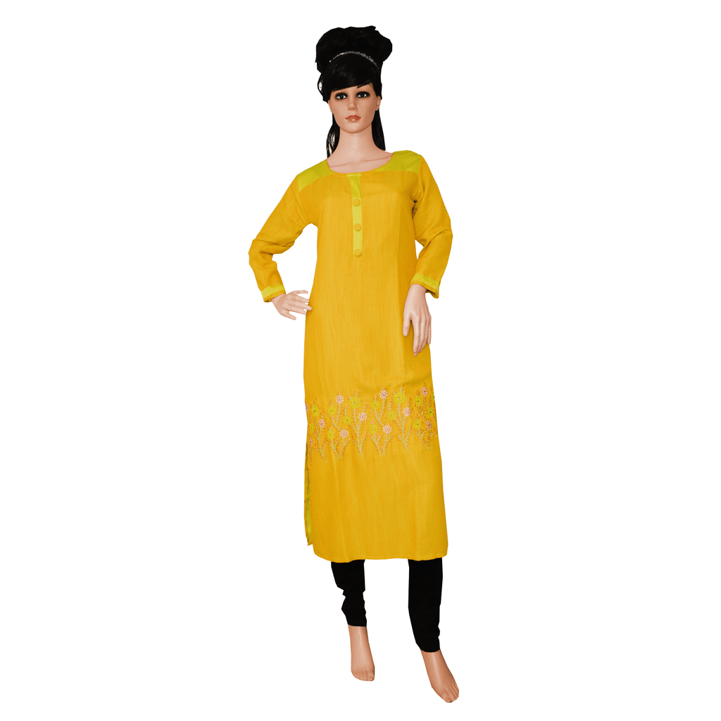 Women's Floral Embroidery A-Line Rayon Kurta (Yellow)