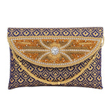 Embroidery Clutch (Blue) - Bagaholics Gift