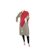 Woman's Dupatta with Pom Pom Lace (Maroon) - Bagaholics Gift