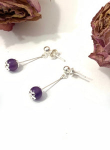 Amethyst and solid 925 sterling silver dangle drop earrngs