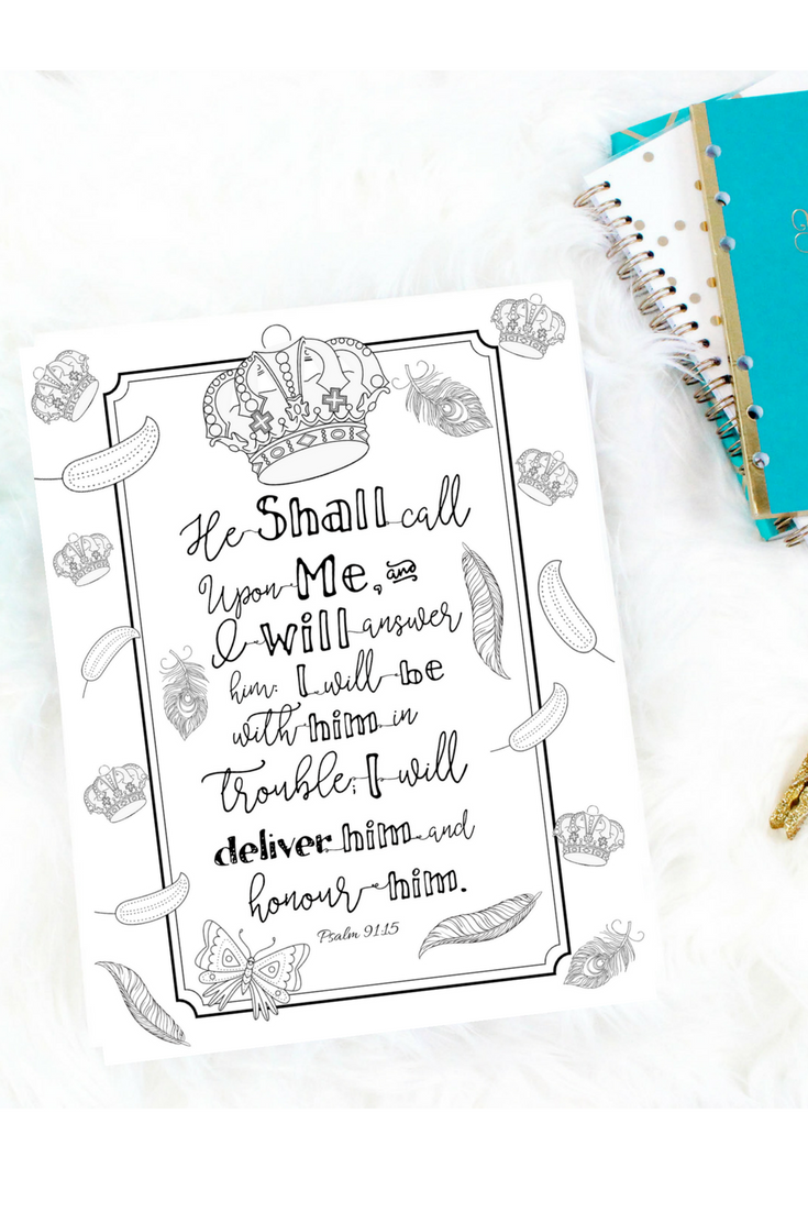 Psalm 91:15 Digital Download Printable Coloring Page