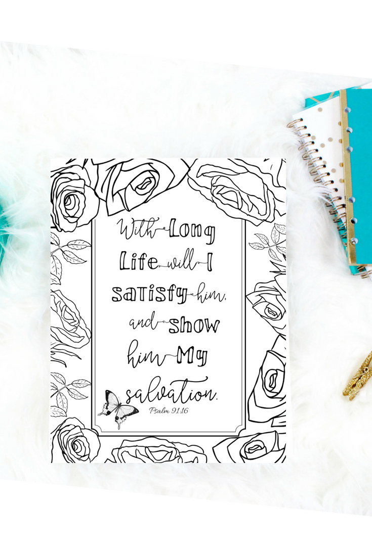 Psalm 91:16 Digital Download Printable Coloring Page