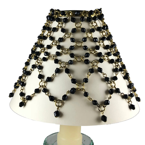 Beaded Shade Cover Black On Brass
