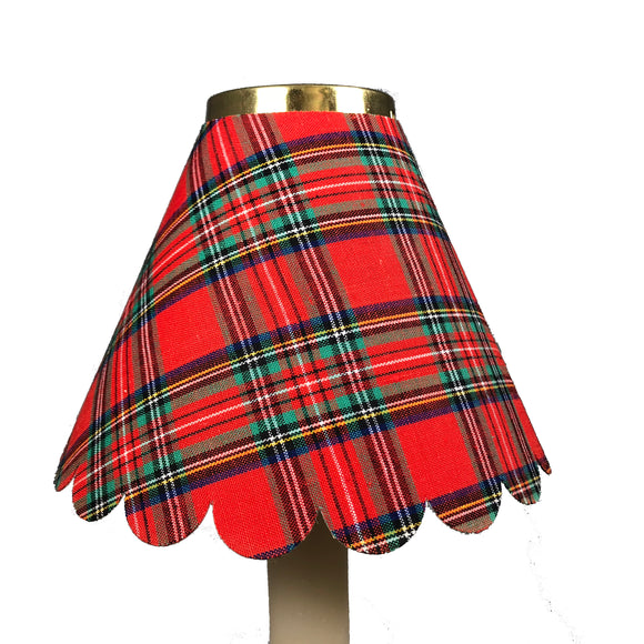 Scalloped Tartan Cotton, Red