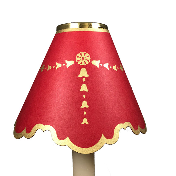Double Scalloped with Gold Bells, Red