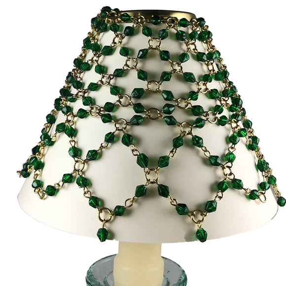 Beaded Shade Cover Green On Brass