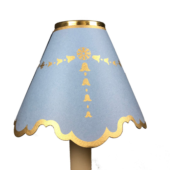 Double Scalloped with Gold Bells, Light Blue