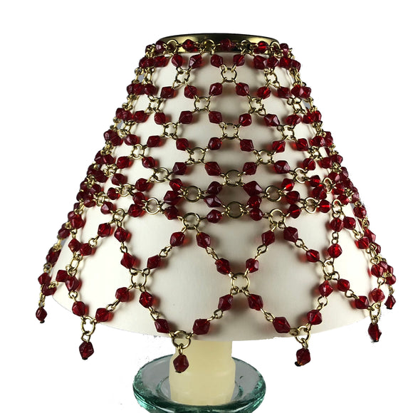 Beaded Shade Cover Red On Brass
