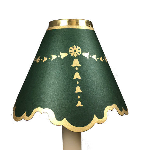 Double Scalloped with Gold Bells, Dark Green