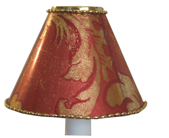 Metallic Red & Gold, Gold Beaded Trim