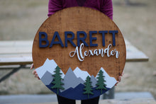 "Load image into Gallery viewer, 24"" Woodland Theme Custom Name Sign Mountain Sign Wall Decor Baby Shower Gift"