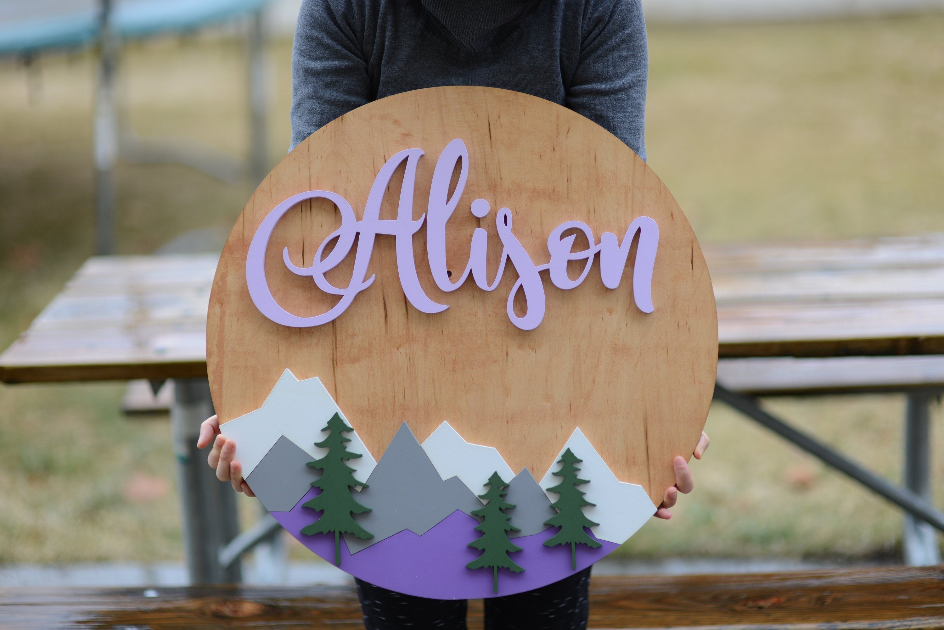 24 Woodland Mountain Name Sign Baby Girl Nursery Name Sign Wall Decor Baby Shower Gift Woodland Wall Decor