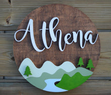 "Load image into Gallery viewer, 18"" Woodland Theme River Lake Mountain Sign Custom Nursery Name Sign Wooden Wall Art Decor"