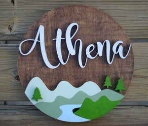 "18"" Woodland Theme River Lake Mountain Sign Custom Nursery Name Sign Wooden Wall Art Decor"