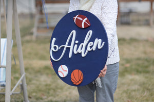 "24"" Football basketball baseball Softball Sports theme Nursery Name Sign Boy Room Wooden Wall Art Decor Sports Baby Shower Gift"