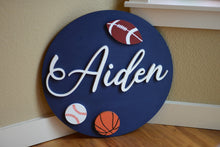 "Load image into Gallery viewer, 24"" Football basketball baseball Softball Sports theme Nursery Name Sign Boy Room Wooden Wall Art Decor Sports Baby Shower Gift"