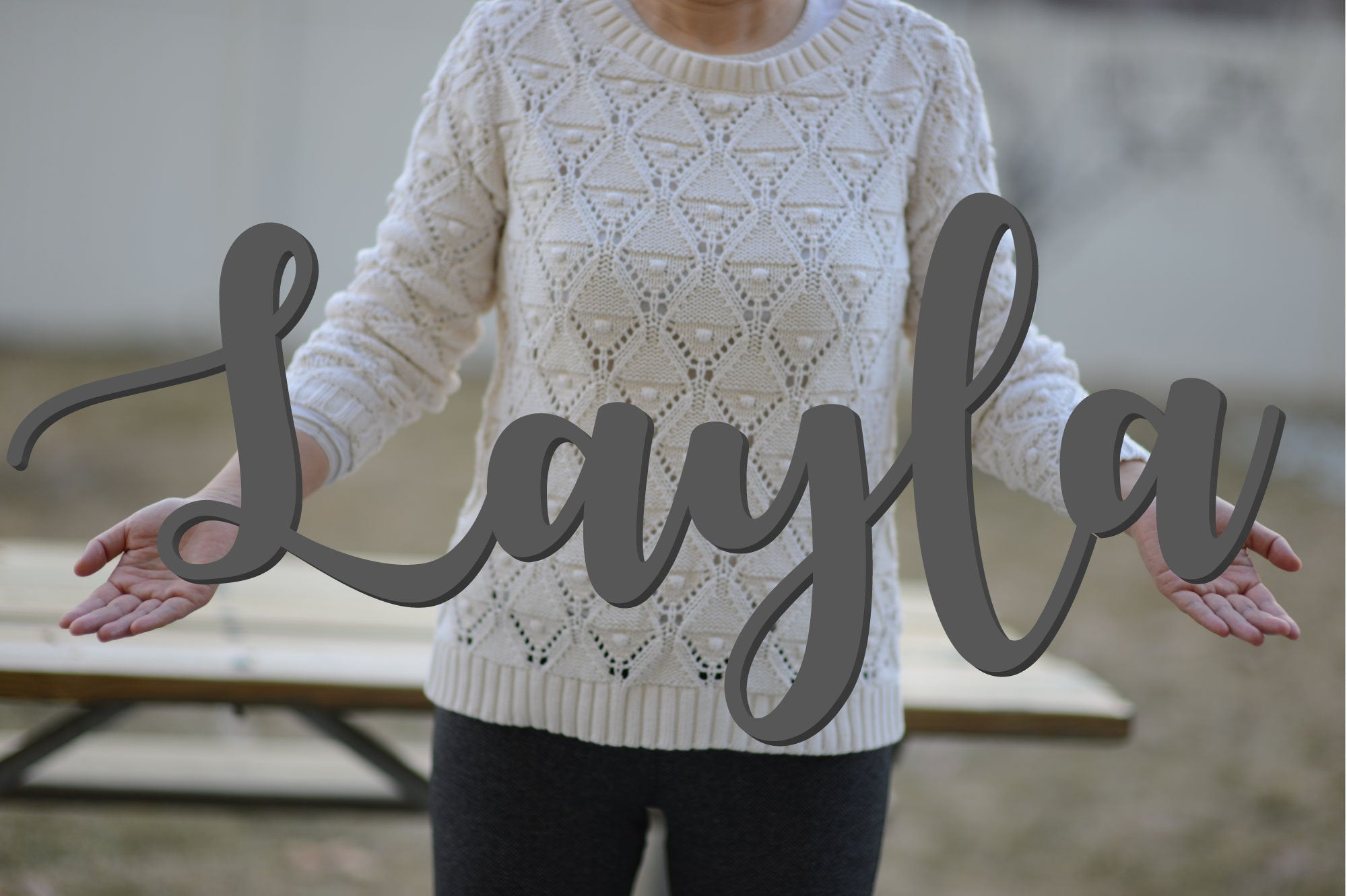 LAYLA Script Font  Wooden Name