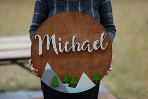 "18"" Round Woodland Adventure themed Name Sign Trees Mountain Sign River Nursery Baby Shower Gift Boy Girl decor birthday party decorations"