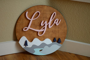 "18"" Curvy Smooth Woodland River Mountain Sign lake Baby Boy Girl Nursery Name Sign Baby Shower Gift"