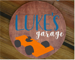 "18"" Sports Car Name Sign Wooden Garage Sign Wall Art Decor Baby Shower Gift"
