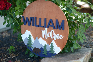 "24"" Woodland Bear Theme Custom Name Sign Mountain Bear Sign Baby Shower Gift"