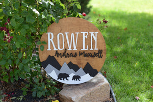 "24"" Woodland Bears Theme Custom name Sign Mountain Sign Round Personalized Nursery Name Wall Decor Baby Shower Gift Girl Boy 3D"