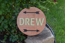 "Load image into Gallery viewer, 18"" Double Arrow Set themed 3D Custom Nursery Name Sign for Boy Girl Room over the crib or bed Baby Shower Gift"