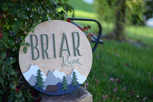 "24"" Woodland Adventure Theme Custom name Sign Mountain Sign Bear among Trees Nursery name sign baby shower gift birthday party theme"
