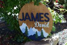 "Load image into Gallery viewer, 24"" Woodland Mountain Name Sign Personalized Nursery Name Wall Decor Baby Shower Gift Round"