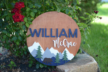 "Load image into Gallery viewer, 24"" Woodland Bear Theme Custom Name Sign Mountain Bear Sign Baby Shower Gift"