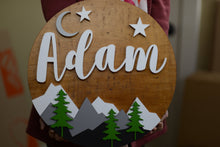 "Load image into Gallery viewer, 18"" stars crescent Moon Mountain sign Custom Nursery Name Sign Woodland Wooden Baby Shower Gift"
