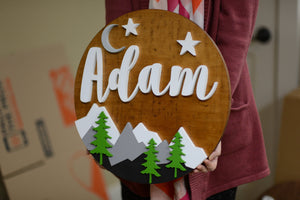 "18"" stars crescent Moon Mountain sign Custom Nursery Name Sign Woodland Wooden Baby Shower Gift"