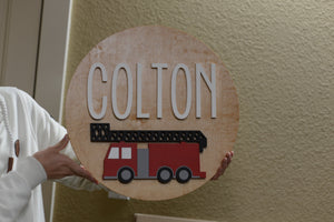 "18"" Round Fire Truck Sign Custom Nursery Name Sign Wooden Wall Decor Baby Shower Gift"
