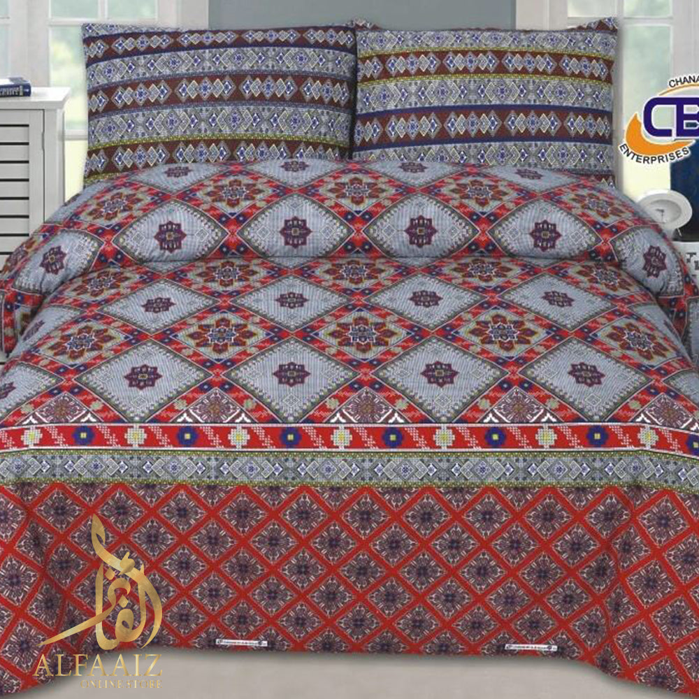 CHENAB DESIGN 01-COTTON PC KING SIZE BEDSHEET WITH 2 PILLOW COVERS. - alfaaiz
