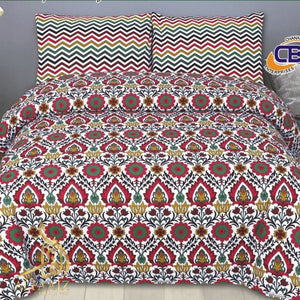 CHENAB DESIGN 07-COTTON PC KING SIZE BEDSHEET WITH 2 PILLOW COVERS. - alfaaiz