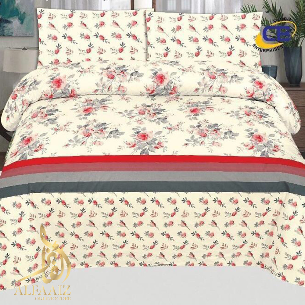 CHENAB DESIGN 001-COTTON PC KING SIZE BEDSHEET WITH 2 PILLOW COVERS. - alfaaiz