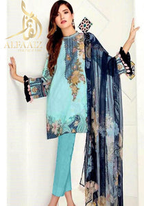 BAROOQUE 1840-EMBROIDED 3PC LAWN DRESS. - alfaaiz