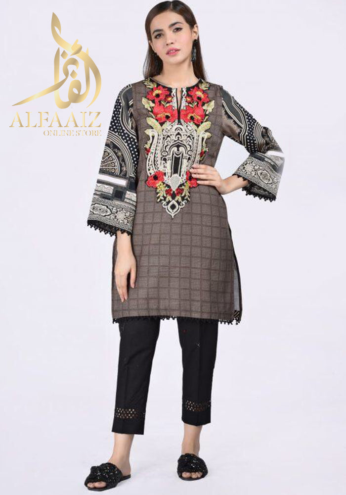 ETHNIC 18147-EMBROIDED 3PC LAWN CHIFFON DUPATTA. - alfaaiz