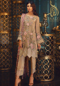 JAZMIN 155-HEAVY EMBROIDED 3PC UNSTICHED PURE CHIFFON. - alfaaiz