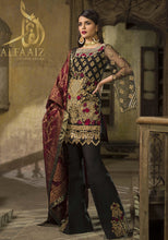 Load image into Gallery viewer, ZAINAB CHOTTANI 06 BLACK-HEAVY EMBROIDED 3PC UNSTICHED. - alfaaiz