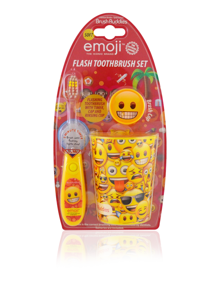 Brush Buddies Emoji Flash Toothbrush Gift Set