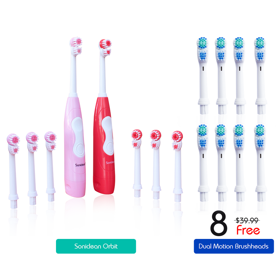 Soniclean Orbit Set of 2 Battery Operated Toothbrushes + 8 Advanced Brushheads (FREE)