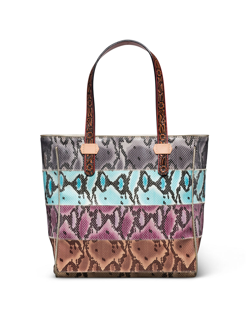 Miley Classic Tote with colorful snake print panels by Consuela, front view