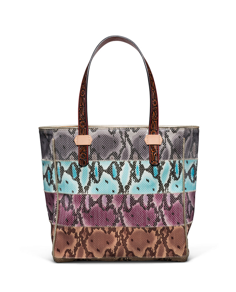 Miley Classic Tote with colorful snake print panels by Consuela, back view