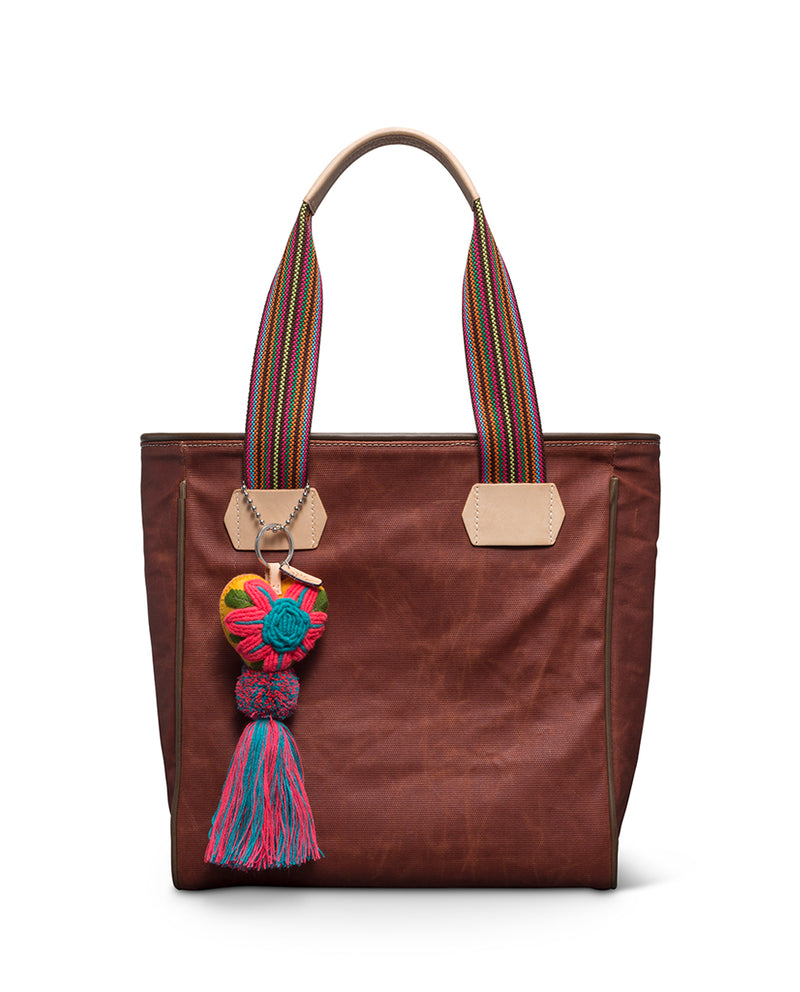 Teddy Classic Tote in waxed canvas with Conni Charm by Consuela, front view