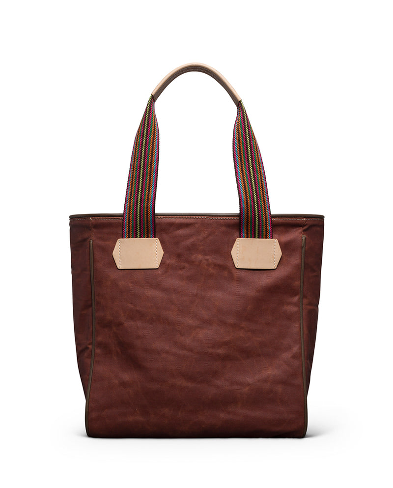 Teddy Classic Tote in waxed canvas  by Consuela, back view
