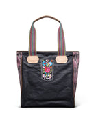 Aurora Classic Tote in slate grey waxed canvas with embroidery by Consuela,  front view