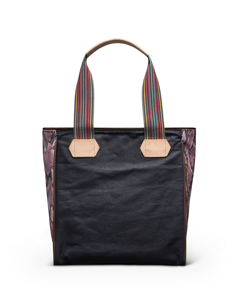 Aurora Classic Tote in slate grey waxed canvas with embroidery by Consuela, back view