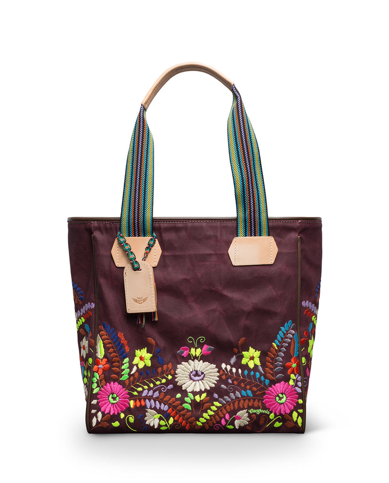 Sonoma Classic Tote in waxed canvas with embroidery by Consuela, front view